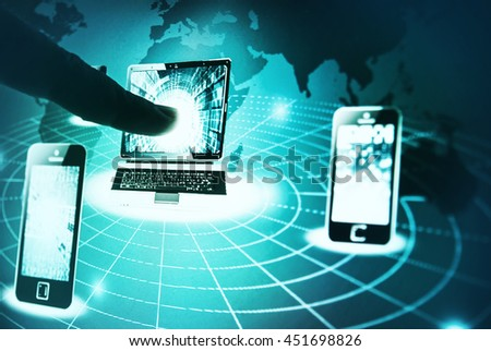 Human hand pointing to laptop on a screen