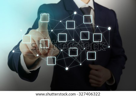 Human hand pressing social network structure - stock photo