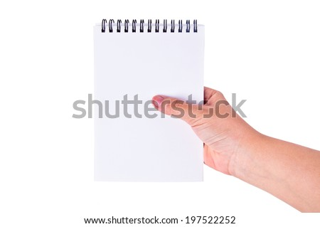 Human Hand Reading Blank Paper Notebook with Leather Cover / concept and idea, write down your text here, isolated on white for background.