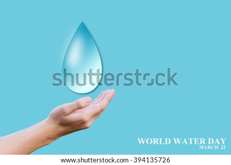human hand showing water drop effect for world water day concept:man gesture palm up to preserve energy of the planet:safe life ideal conceptual:Elements of this image furnished by NASA. - stock photo