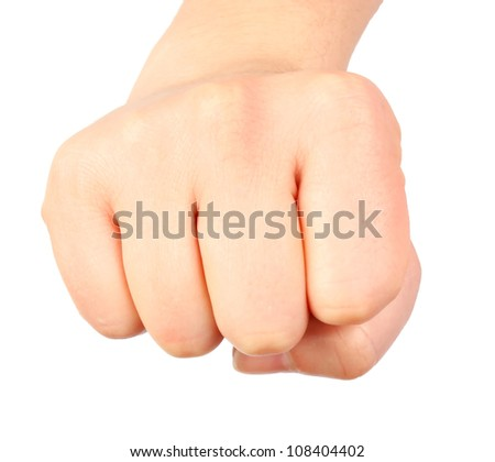 Human hand symbol �fist� isolated on white background