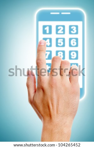 Human hand touching buttons of smartphone - stock photo