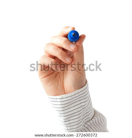 Human hand with blue marker - stock photo