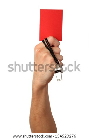 Human Hand with whistle, red card, Isolated on white background. - stock photo