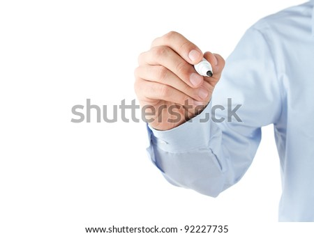 Human hand writing at blank transparent whiteboard with copy space - stock photo