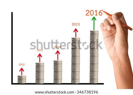 Human hand writing high graph in 2016. - stock photo