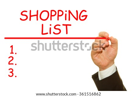 Human hand writing shopping list concept