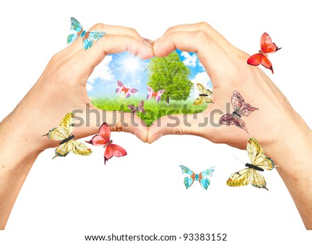 Human hands and nature. Symbol of the environment. Collage - stock photo