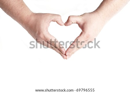 Human hands forming a heart over white background