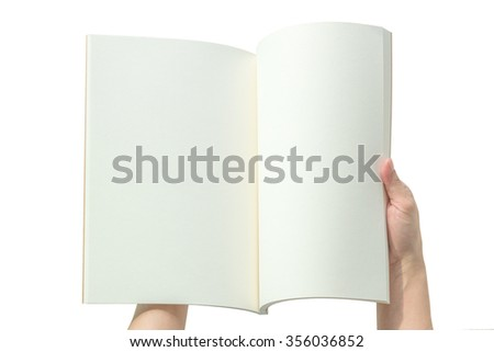 Human hands holding blank open book catalog magazines brochure note template with paper texture copyspace isolated on white background w/ clipping path: Empty note pages overhead top view   - stock photo
