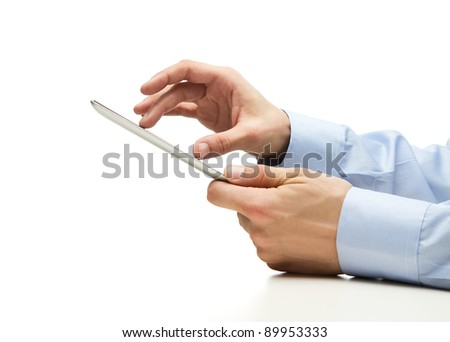 Human hands holding digital tablet with copy space - stock photo