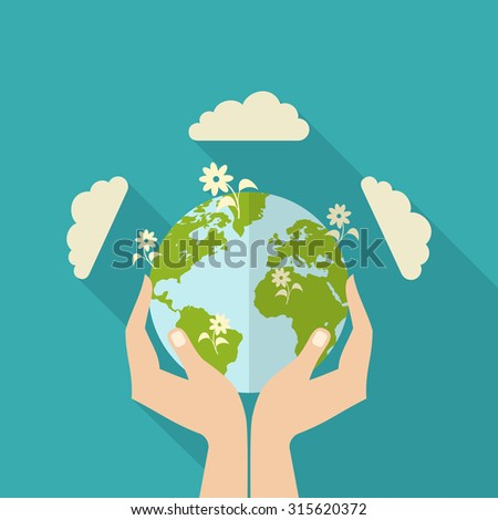 Human hands holding globe with flowers on it environmental care and social responsibility flat poster  illustration