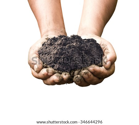 Human hands holding heart shape of soil isolated on white background. World Soil Day, Soils a solid ground for life concept. - stock photo