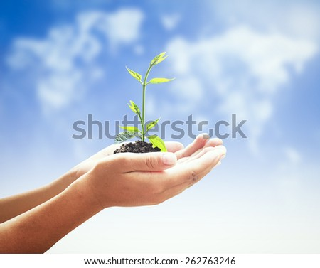 Human hands holding young plant over blurred world map of clouds background. Ecology concept. - stock photo