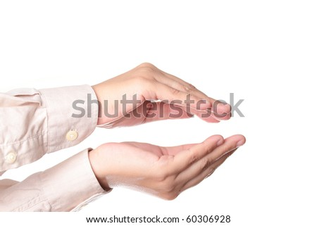 Human hands isolated on a white background - stock photo