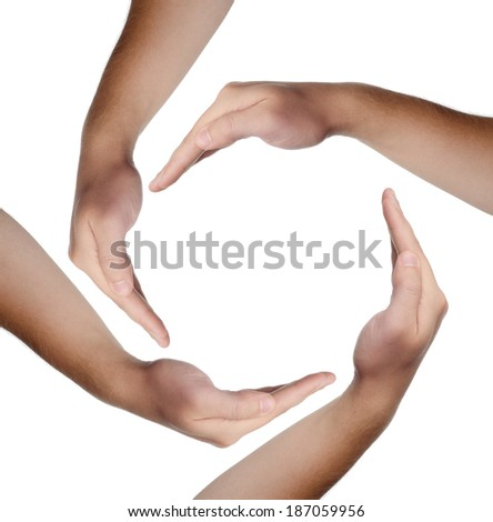 Human hands making a circle on white background
