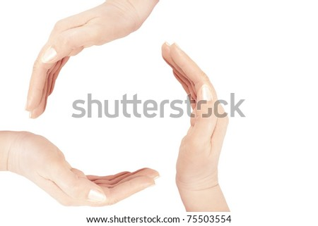 human hands making a circle on white background with a copy space in the middle and right side