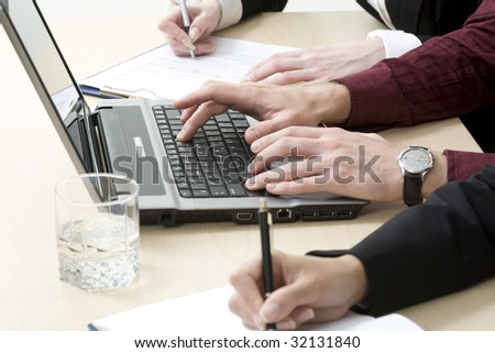 Human hands on a workplace