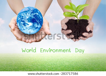 Human hands palm up for EARTH CARE on World Environment Day campaign with NASA global image as design element over white - stock photo