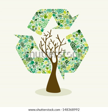 Human hands recycle symbol shape tree.