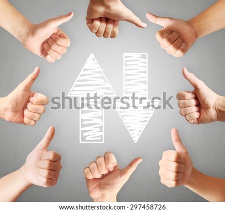 Human hands showing thumbs, body parts concept   - stock photo