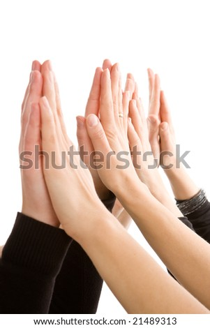 Human hands together isolated on white - stock photo