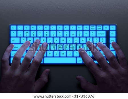 Human hands with conceptual keyboard - stock photo