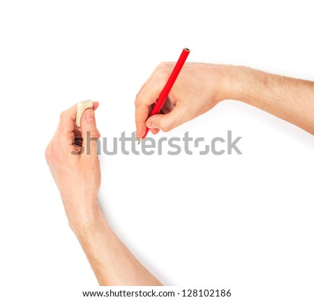 Human hands with pencil and erase rubber writting something. On white background