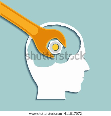 Human head and a wrench. Mental health. Flat graphics. Stock illustration. - stock photo