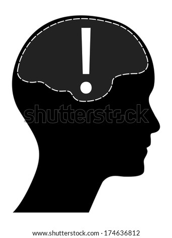 Human head and brain with exclamation mark, raster version. - stock photo