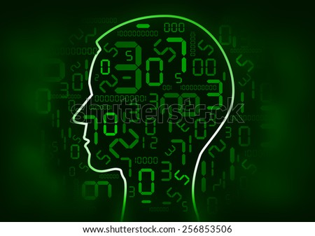 Human Head and digital numbers Human Head silhouette with green  digital numbers and binary codes. Concept for mathematics  and information technology. Illustration.  - stock photo