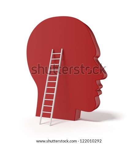 Human head and ladde isolated on a white background