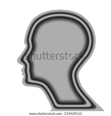 human head and white background - stock photo