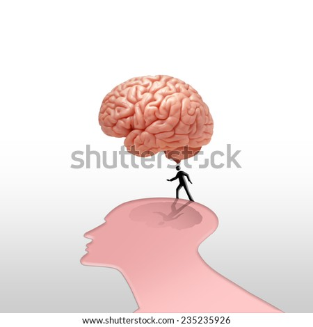 human head brain with human silhouette and white background - stock photo