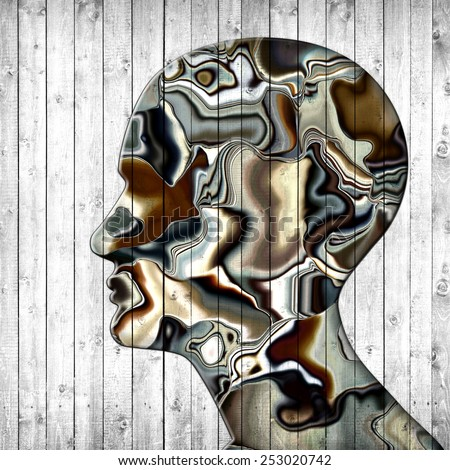 human head colored with wood background