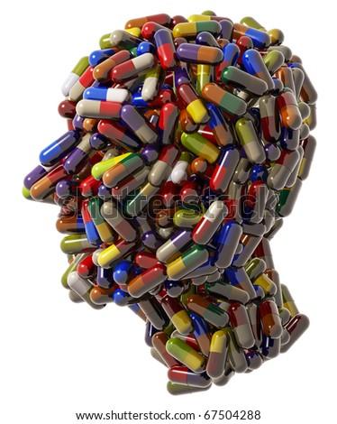 Human head created of medical pills, 3d - stock photo