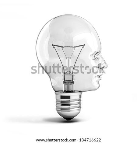 human head light bulb 3d illustration - stock photo