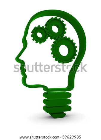 Human head / light bulb with mechanical parts inside. Part of a series. - stock photo