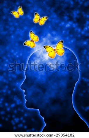 human head shape with butterflies flying out of the head - stock photo