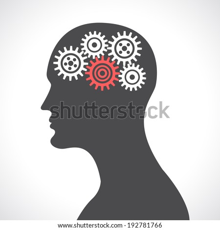 Human head silhouette thinking with gears and cogwheels poster  illustration