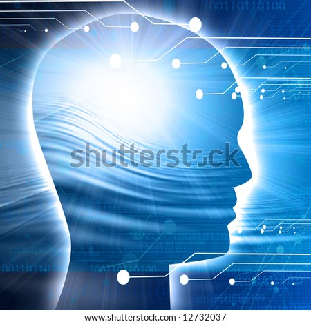 Human head silhouette with technology elements - stock photo