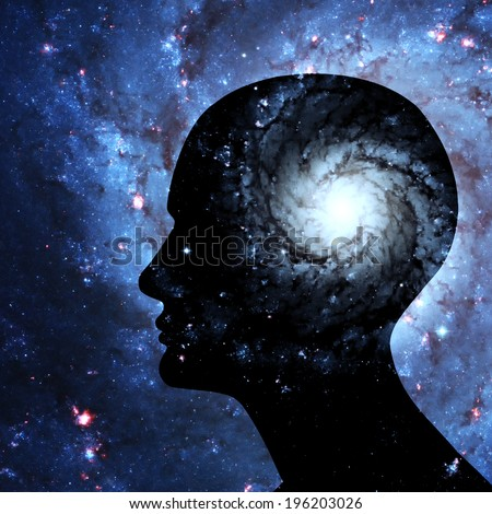 human head, space of Elements of this image furnished by NASA - stock photo