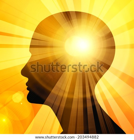 human head sun sky and rays background - stock photo