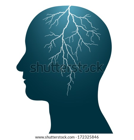 human head with a lightning flash inside, isolated headache epilepsy seizure - stock photo