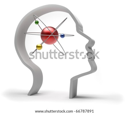 Human head with atom - 3d render illustration - stock photo