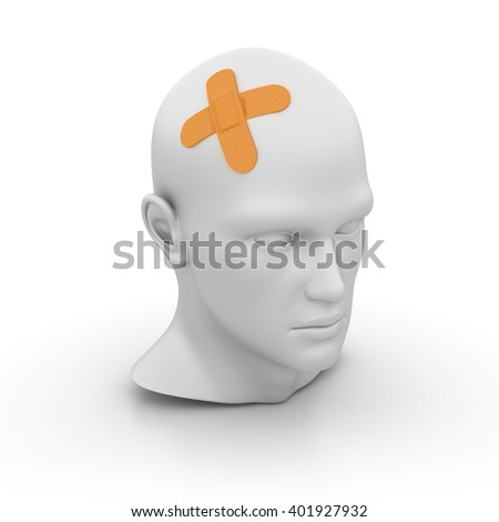 Human Head with Band-Aid on White Background - High Quality 3D Render   - stock photo