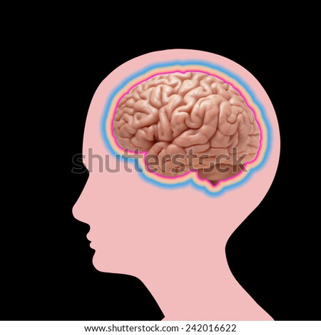 human head with brain and black background - stock photo