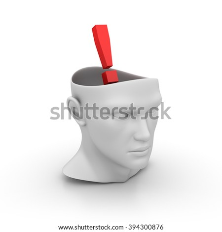 Human Head with Exclamation Point on White Background - High Quality 3D Render   - stock photo