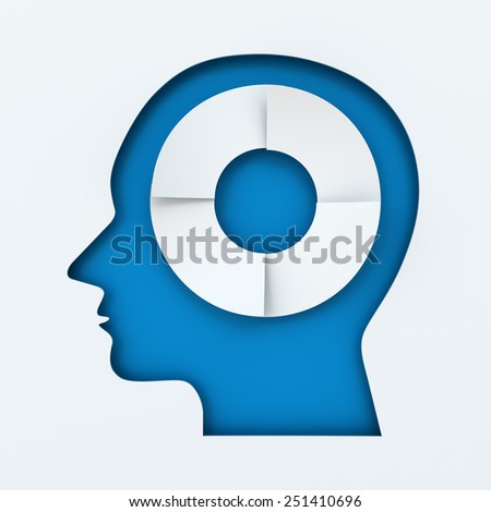 Human head with four steps infographic circle, 3d render - stock photo