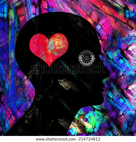 human head with gear heart and colorful background - stock photo